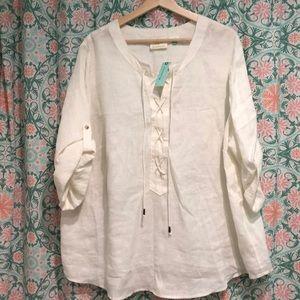 Anthropologie Plus White Linen Top Tunic